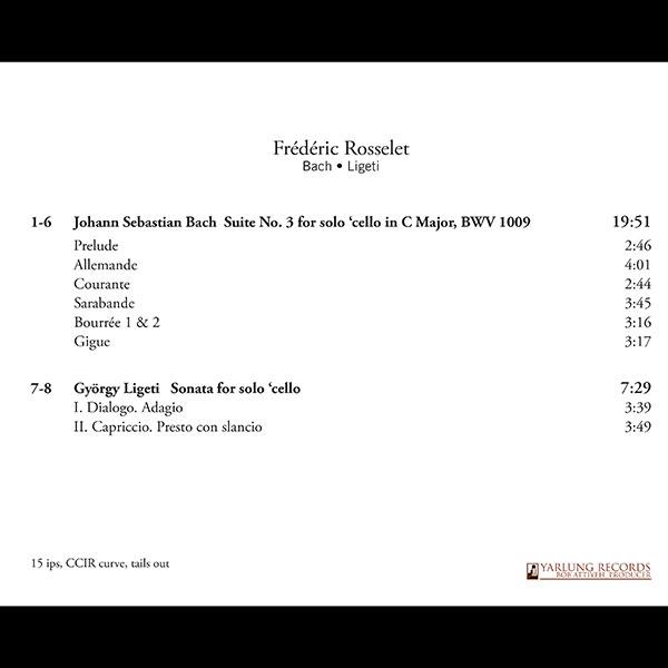 Frédéric Rosselet   Cello   Sonorus