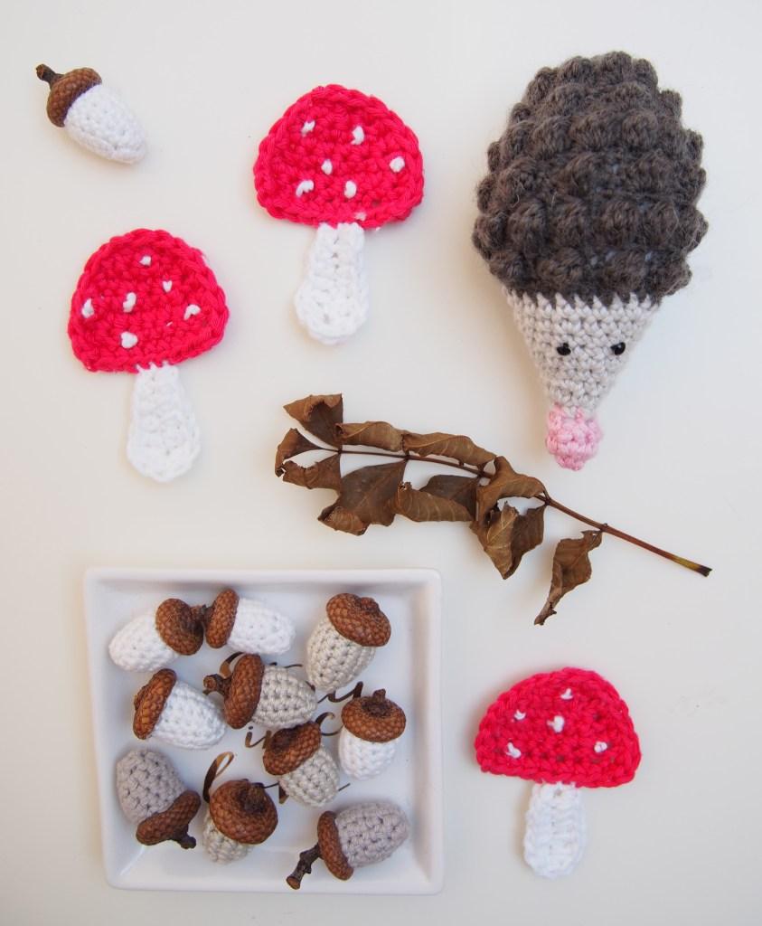 Igel, Pilze, Eicheln, häkeln, Herbstdekoration, Anleitungen