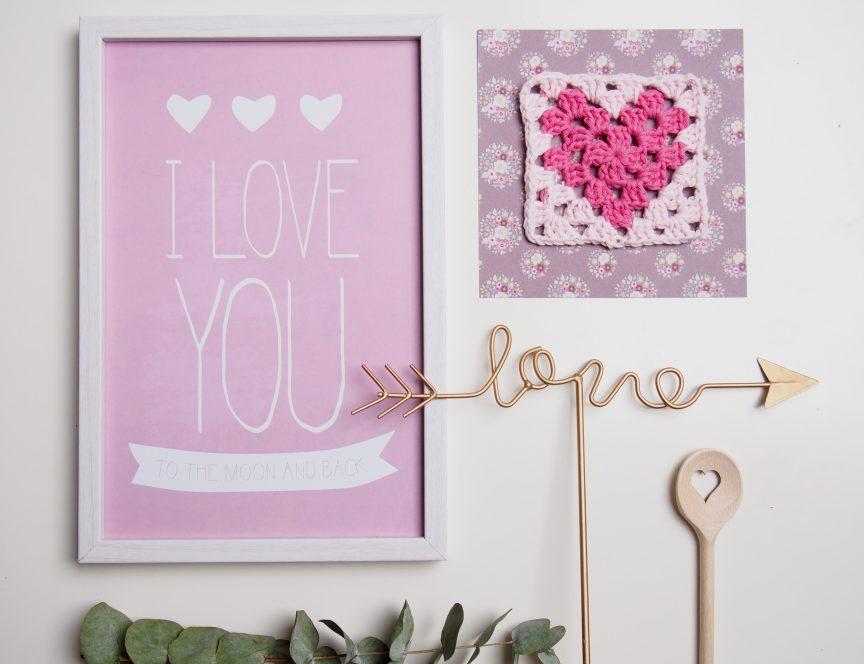 Herz Granny Square, Pink, Love, Valentinstag