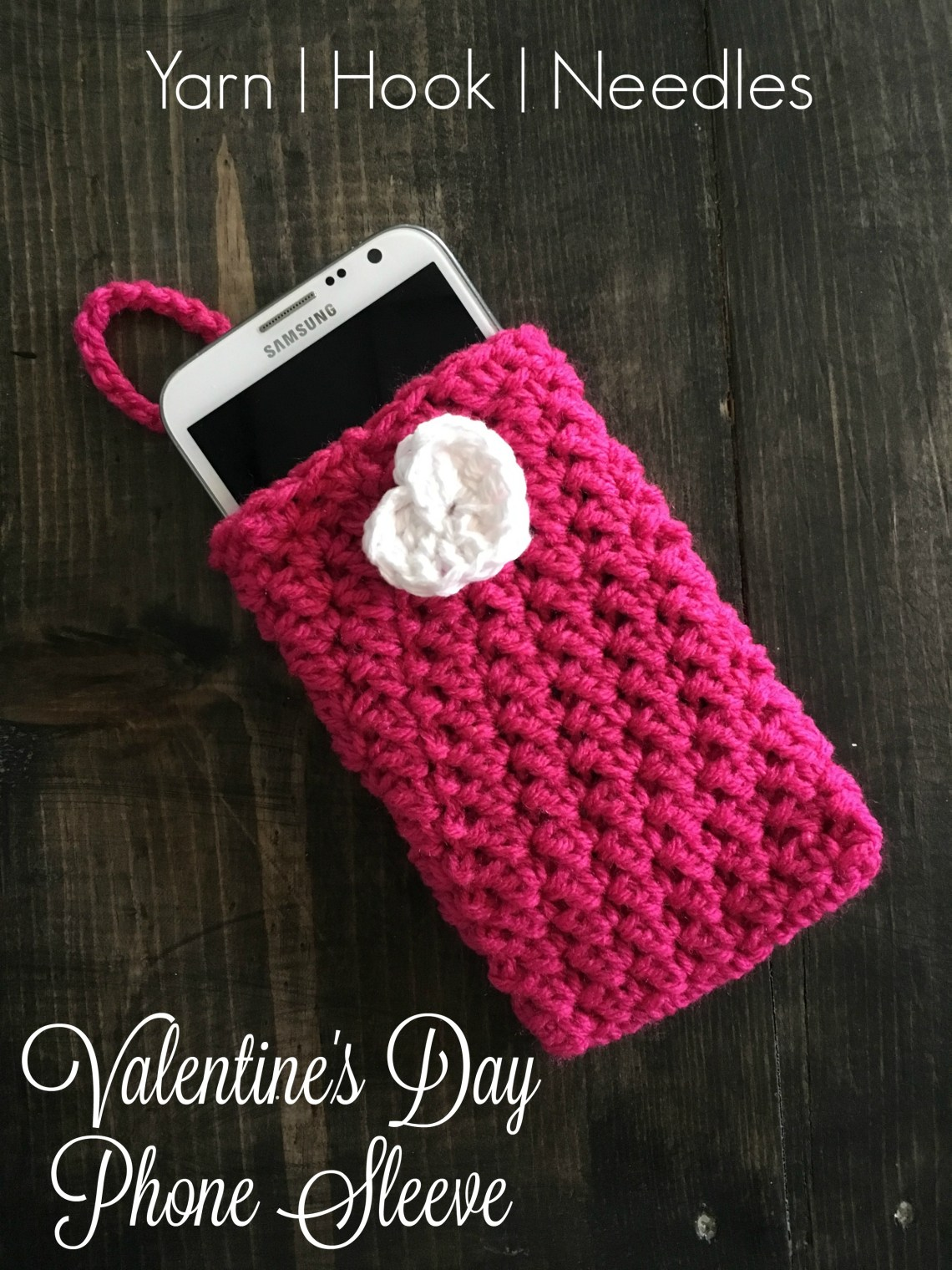 Valentines Crochet Phone Sleeve With Free Pattern Link Yhn
