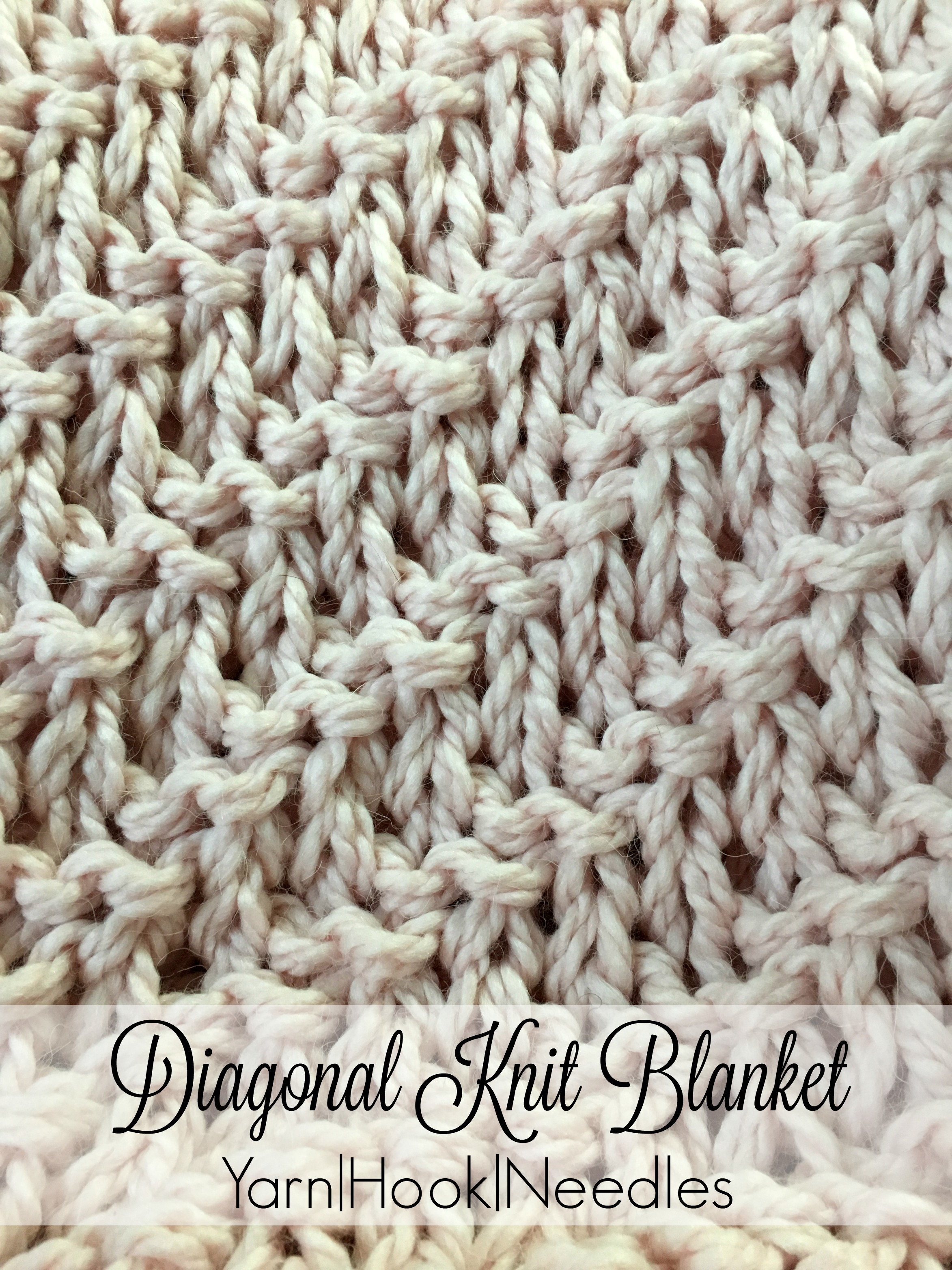 Diagonal Knitted Blanket With Free Pattern Yarn Hook Needles