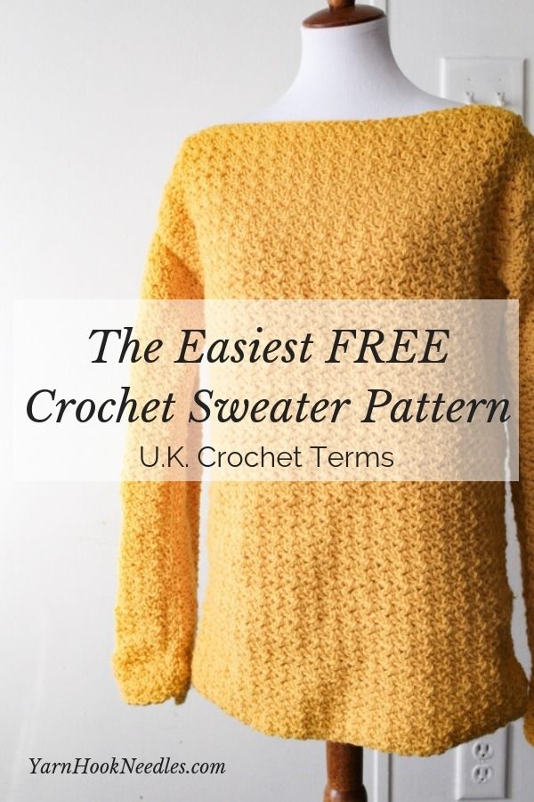 3046d90c83d140 The Easiest FREE Crochet Sweater Pattern