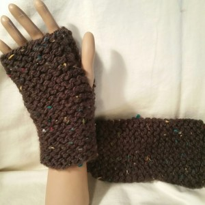 Brown Flecks Fingerless Mitts
