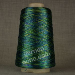 laceweight green blue space dyed dye viscose rayon yarn on cone hand machine knitting weaving crochet