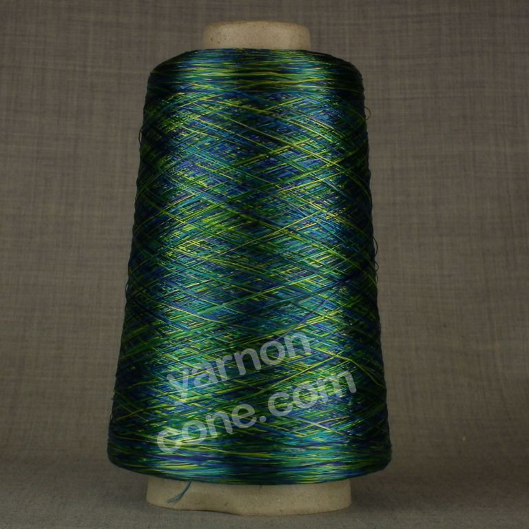 laceweight green blue space dyed dye viscose rayon yarn on cone hand machine knitting weaving crochet