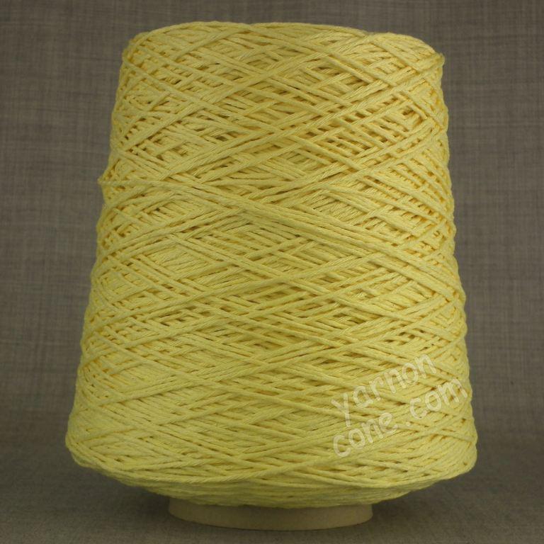 Double knitting DK soft pure cotton yarn on cone hand machine knitting weaving crochet primrose yellow pastel light