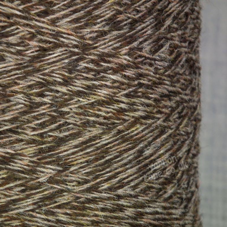 Shetland weaving wool nylon 80 20 2/9 NM autumn brown oatmeal tweed marl yarn on cone uk