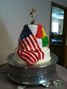 My cousin Eric's wife is from Bolivia.  They wanted the American and Bolivian flags on their cake.  I painted both flags by hand.