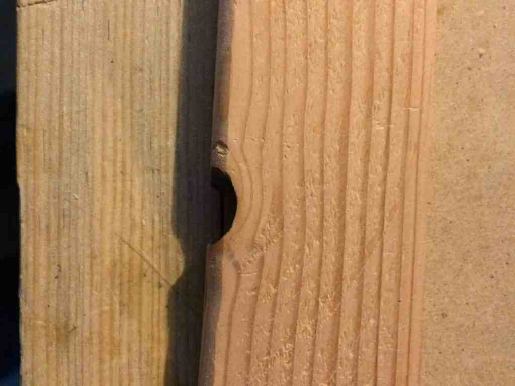 Note that it's not a perfect piece of wood.  It does need to be straight in order to fit the rail, but it does have imperfections.  All the knots are on the bottom of the raddle.  The top of the raddle should be smooth and flat so you have a consistent surface when nailing.
