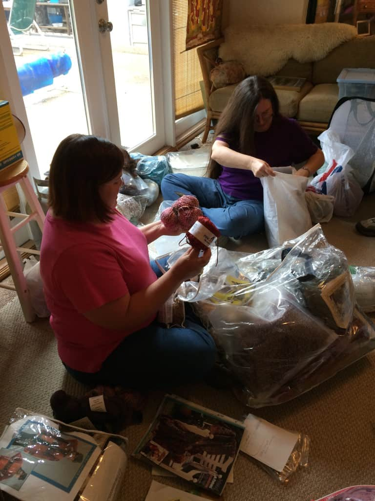 Nancy and me sorting through S's yarn and projects.