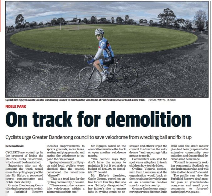Saving Melbourne's cycling history: talking about Maurice Kirby Velodrome