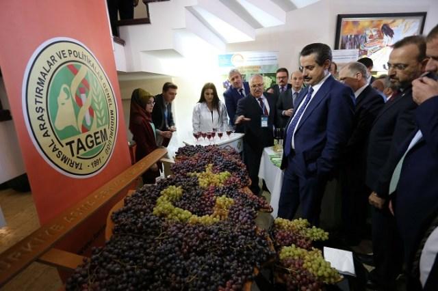 Bakan Çelik, toplantı öncesi yöresel ürünlerin bulunduğu stantları gezdi. ( Emrah Gökmen - Anadolu Ajansı )