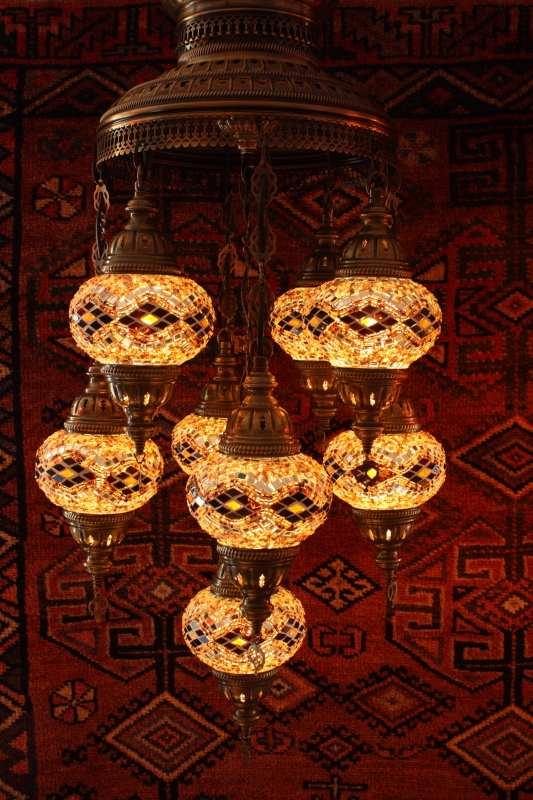 Turkish Amber Kilim Nine Lamp Mosaic Chandelier