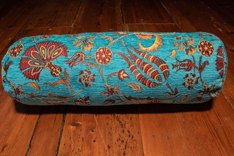 small turquoise ottoman turkish bolster cushion cover 15x53cm