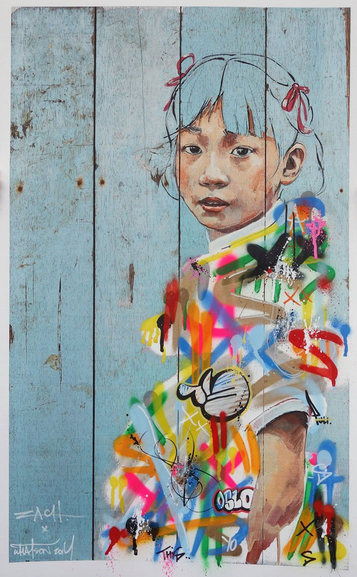 Different Strokes (collaboration with Martin Whatson). Photo courtesy of Ernest Zacharevic.