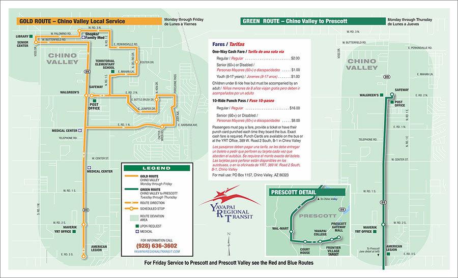 Prescott Area Bus Transportation Routes Schedules