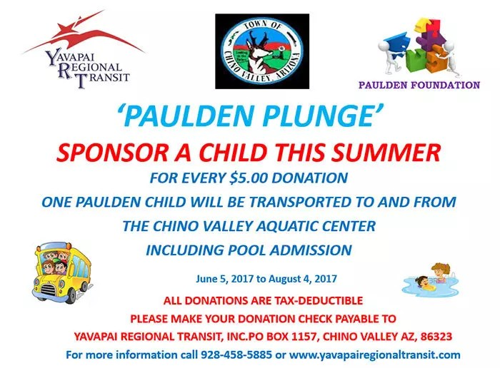 2017 Paulden Pool Route Sponsor a Child