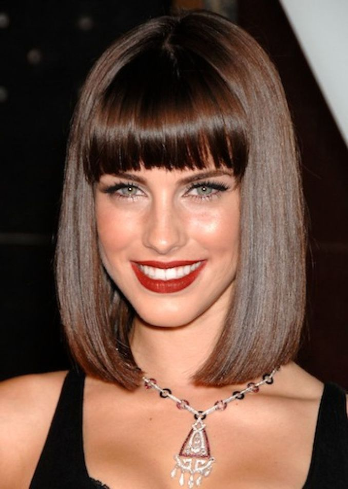 elegant elongated square with straight bangs