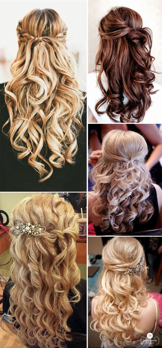 Hair styling options in a hairstyle with curls and curls