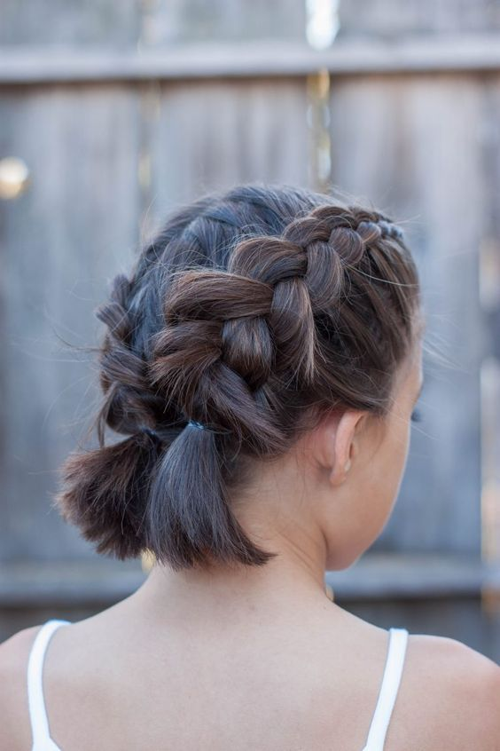 Two braids on short hair
