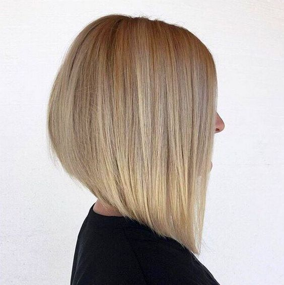 elongated bob with strands in front and even styling