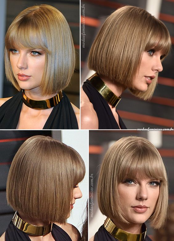 straight bangs combined with a square