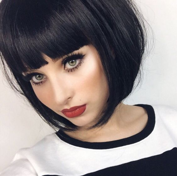 short haircut with straight straight bangs