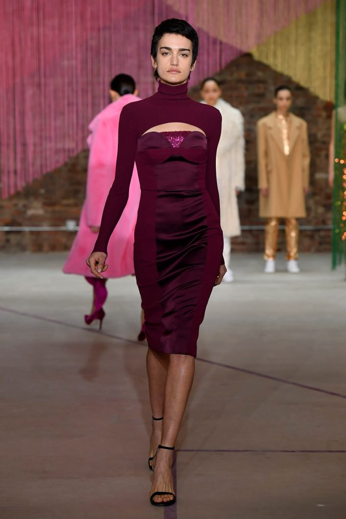 Milly elegant sheath dress 2019 burgundy violet