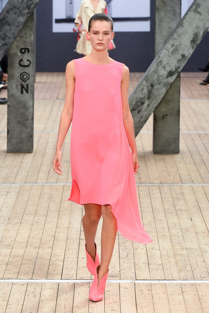 Akris dress with a large flounce 2019 pink