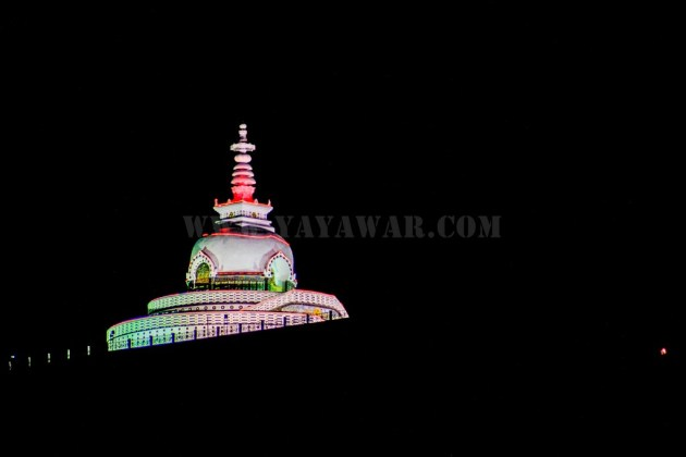 Shanti Stupa lighted