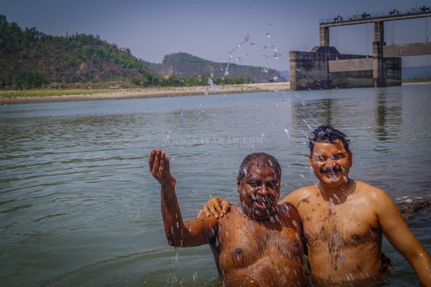 bathing in Yamuna