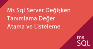 Ms SQL server değişken tanımlama ve listeleme