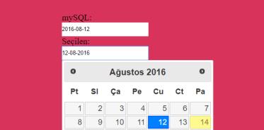 datepicker Turkce mySQL