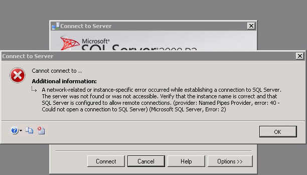 A network-related or instance-specific error occurred while establishing a connection to SQL Server