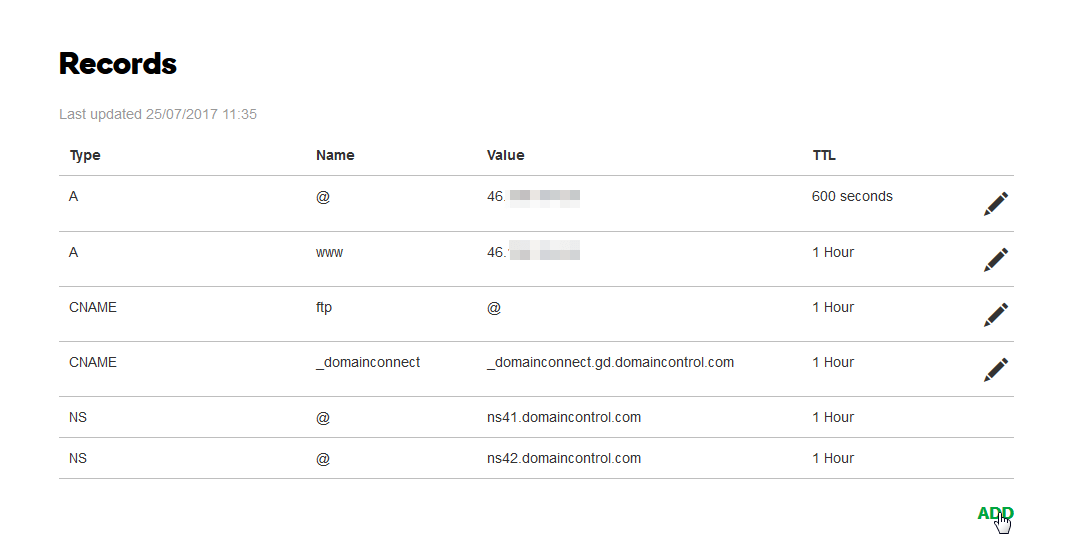 GoDaddy.com redirect a registered domain to another web hosting : Changing domain records, adding @ and www