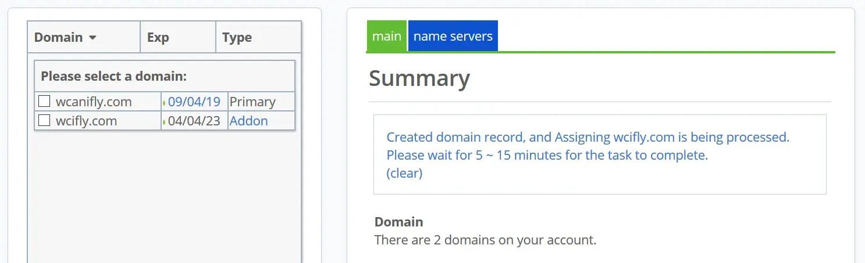 cPanel addon domain, create an addon domain : bluehost addon domain successfully added