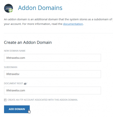 cPanel add new domain