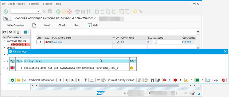 SAP accounting data not yet maintained