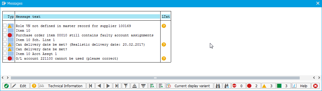 ME21N create purchase order in SAP