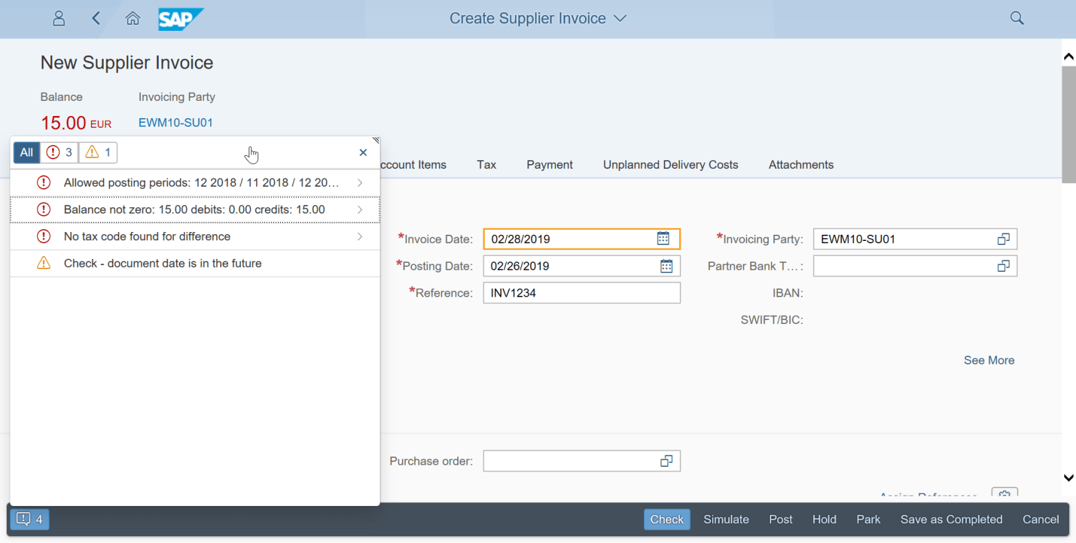 Solving the issue balance not zero while creating supplier invoice in SAP