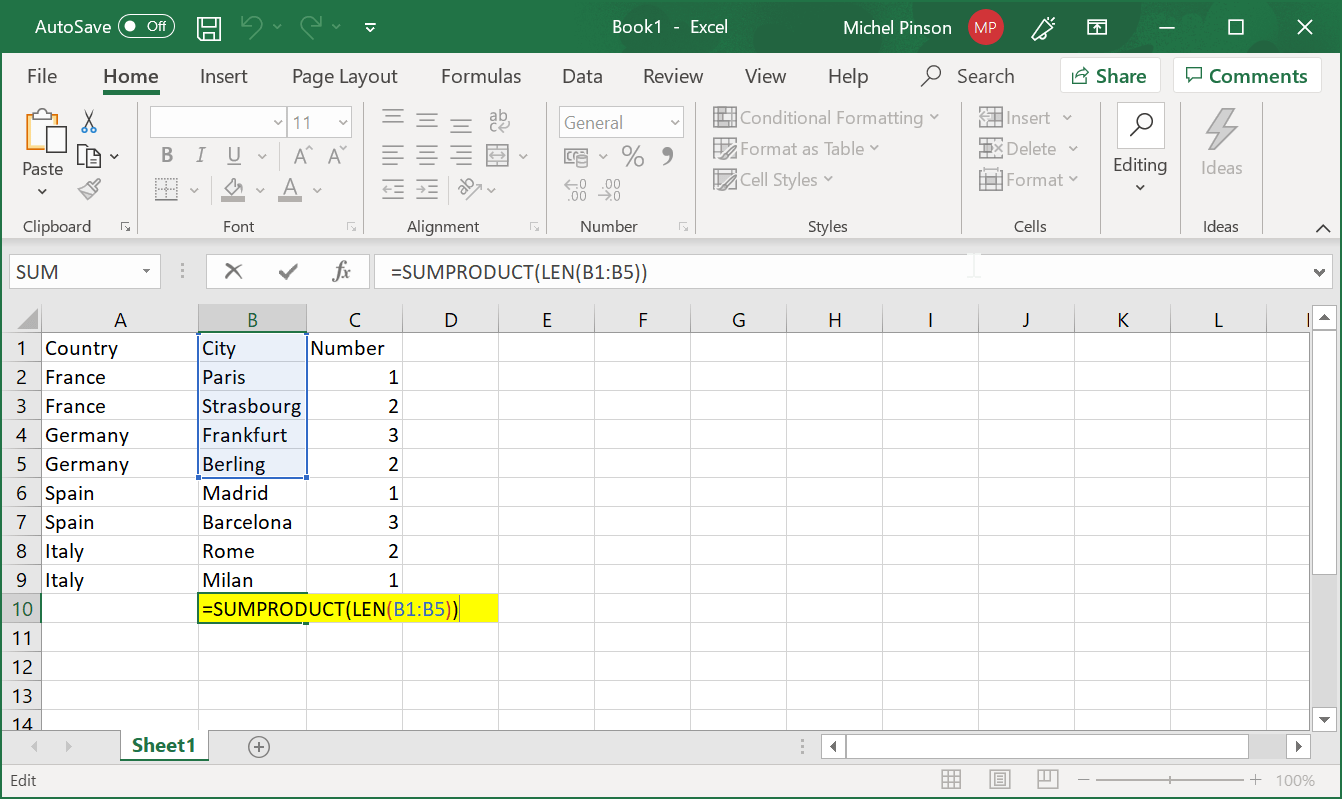 How to count number of cells and count characters in a cell in Excel?
