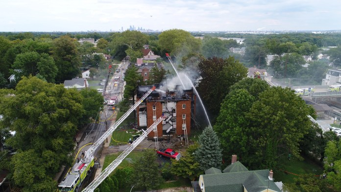 Sky footage of the apartment fire in Sharon Hill Delaware County Friday after reports of a possible explosion. (PHOTO: YC.NEWS SKY VIEW/NIK HATZIEFSTATHIOU)