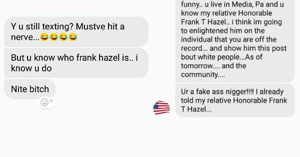 Facebook Messenger conversation provided by Quron Banks of Delaware County.