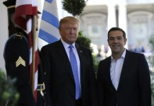 US President Donald Trump (L) welcomes Greek Prime Minister Alexis Tsipras to the White House White House in Washington, DC on October 17, 2017 in Washington, DC. (JASON CONNOLLY/AFP/Getty Images)