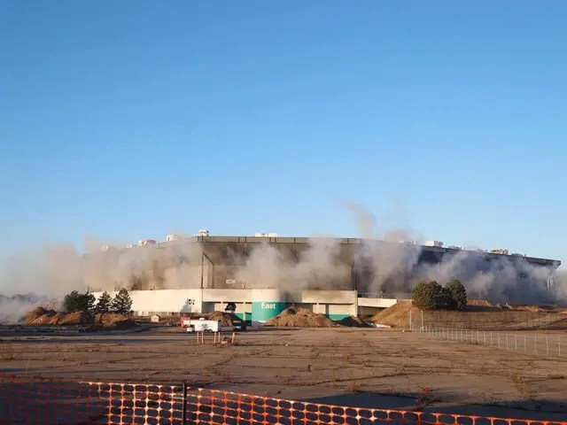 Explosives detonated to bring down the Pontiac Silverdome are seen on Sunday, Dec. 3, 2017, in Pontiac. (Photo/Junfu Han, Detroit Free Press)