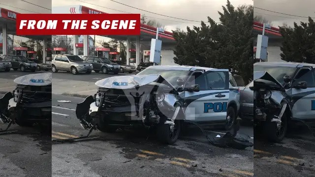 The scene of a police-involved accident following a pursuit in Trainer Boro that ended in the City of Chester. (YC.NEWS PHOTO)