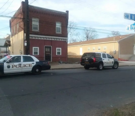 City of Chester Police & Crime Scene Investigators on location of a homicide on the 300 block of PEnnel Steet on Easter Sunday. (PHOTO/CHESTER CITY INCIDENT BLOG FACEBOOK)