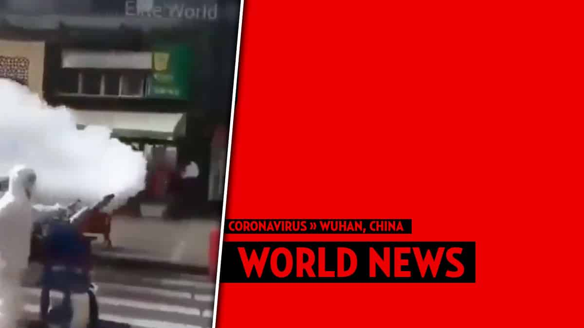 Watch Chinese hazmat officials spray down the entire country to 'fight' coronavirus