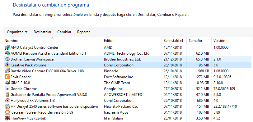 desinstalar programas windows 10