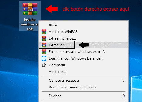 instalar windows en disco usb